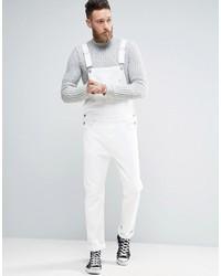 weiße Jeans Latzhose von Asos