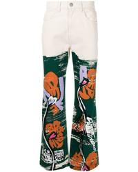 weiße Jeans mit Blumenmuster von Marni