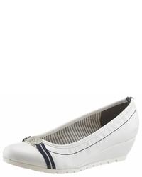 weiße Keilpumps aus Leder von Tom Tailor