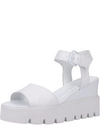 weiße Keilsandaletten aus Leder von SPM