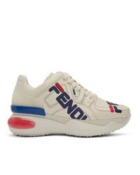 weiße klobige Leder niedrige Sneakers von Fendi