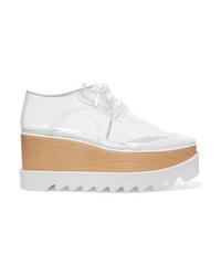 weiße klobige Leder Oxford Schuhe