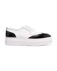 weiße klobige Leder Oxford Schuhe von Prada