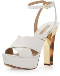weiße klobige Leder Sandaletten