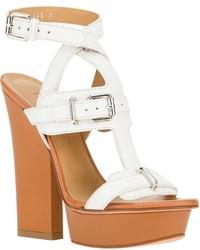 weiße klobige Leder Sandaletten von Dsquared2