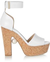 weiße klobige Leder Sandaletten von Nicholas Kirkwood