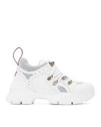 weiße klobige Segeltuch niedrige Sneakers von Gucci