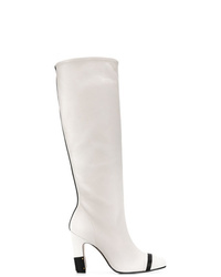 weiße kniehohe Stiefel aus Leder von Stuart Weitzman