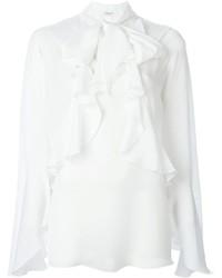 weiße Langarmbluse mit Rüschen von Givenchy