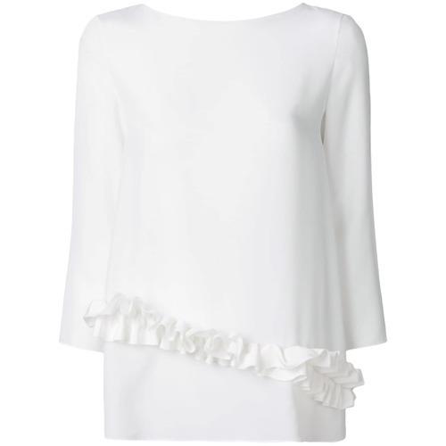weiße Langarmbluse mit Rüschen von Lanvin