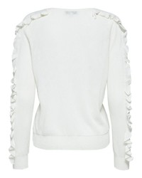 weiße Langarmbluse mit Rüschen von Selected Femme