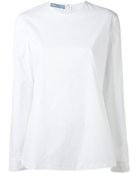 weiße Langarmbluse von Prada