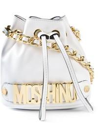 weiße Leder Beuteltasche von Moschino