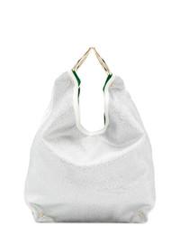 weiße Leder Beuteltasche von Sara Battaglia