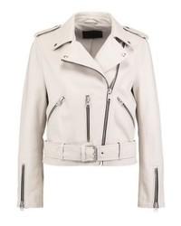 weiße Leder Bikerjacke von AllSaints