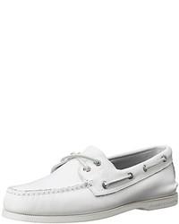 weiße Leder Bootsschuhe