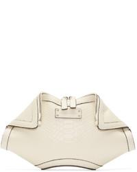 weiße Leder Clutch von Alexander McQueen