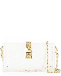 weiße Leder Clutch von Dolce & Gabbana