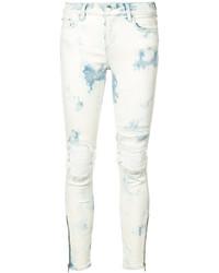 weiße enge Jeans aus Leder mit Destroyed-Effekten von Amiri