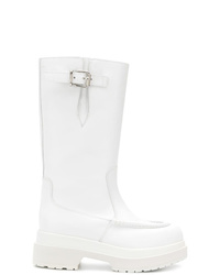 weiße Leder mittelalte Stiefel von MM6 MAISON MARGIELA