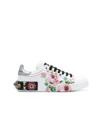 weiße Leder niedrige Sneakers mit Blumenmuster von Dolce & Gabbana