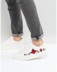 weiße Leder niedrige Sneakers mit Blumenmuster von Good For Nothing
