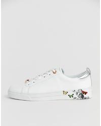 weiße Leder niedrige Sneakers mit Blumenmuster von Ted Baker