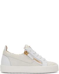 weiße Leder niedrige Sneakers mit Schlangenmuster von Giuseppe Zanotti