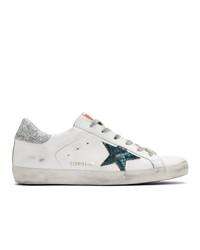 weiße Leder niedrige Sneakers mit Schlangenmuster von Golden Goose