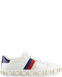 weiße Leder niedrige Sneakers mit Schlangenmuster von Gucci