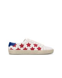 weiße Leder niedrige Sneakers mit Sternenmuster von Saint Laurent