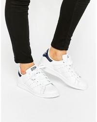 weiße Leder niedrige Sneakers von adidas