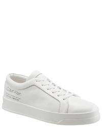 weiße Leder niedrige Sneakers von Calvin Klein