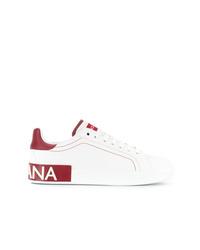 weiße Leder niedrige Sneakers von Dolce & Gabbana