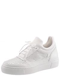 weiße Leder niedrige Sneakers von Gabor