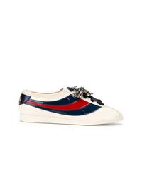 weiße Leder niedrige Sneakers von Gucci