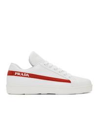 weiße Leder niedrige Sneakers von Prada