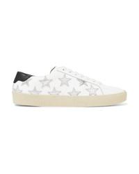 weiße Leder niedrige Sneakers von Saint Laurent