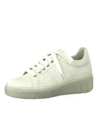 weiße Leder niedrige Sneakers von Tamaris
