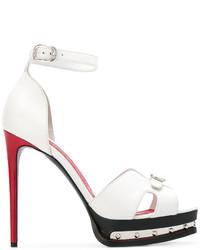 weiße Leder Sandaletten von Alexander McQueen