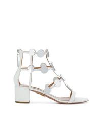 weiße Leder Sandaletten von Aquazzura