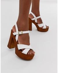 weiße Leder Sandaletten von ASOS DESIGN