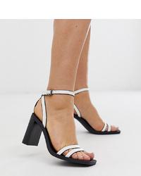 weiße Leder Sandaletten von Bershka