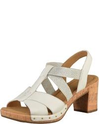 weiße Leder Sandaletten von Gabor