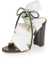 weiße Leder Sandaletten von MSGM