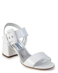 Weiße Leder Sandaletten von Prada
