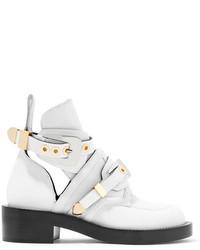 weiße Leder Stiefeletten mit Ausschnitten von Balenciaga