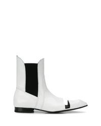 weiße Leder Stiefeletten mit Ausschnitten von Comme des Garcons