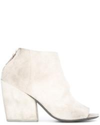 weiße Leder Stiefeletten mit Ausschnitten von Marsèll