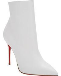 weiße Leder Stiefeletten